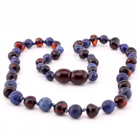 Baltic amber & amethyst teething necklace 139